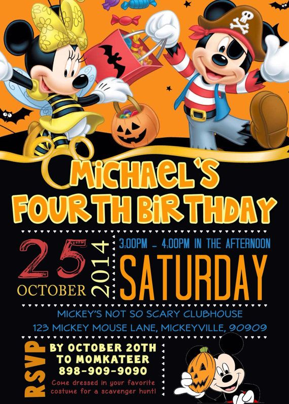 CUSTOM PHOTO Invitations Mickey Mouse Halloween By Asapinvites Birthday Party
