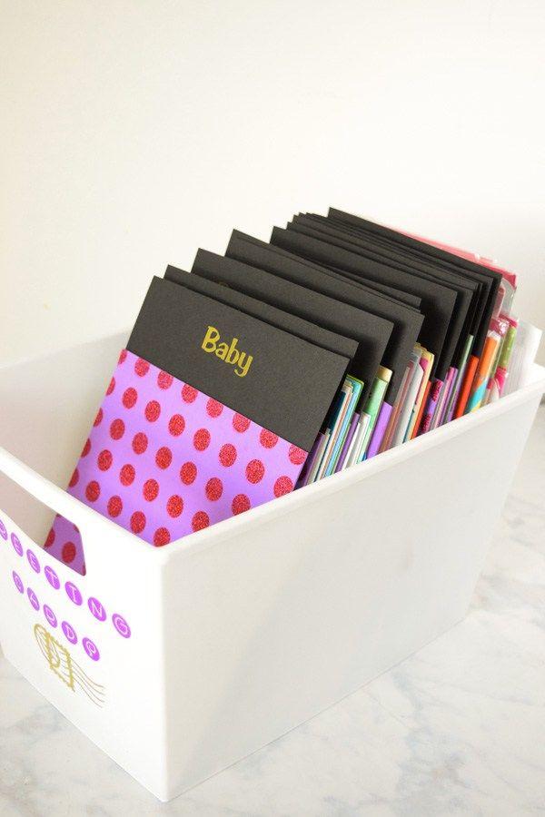 Diy Dollar Store Greeting Card Box Your Everyday Family Greeting Card Box Greeting Card Storage Greeting Cards Storage