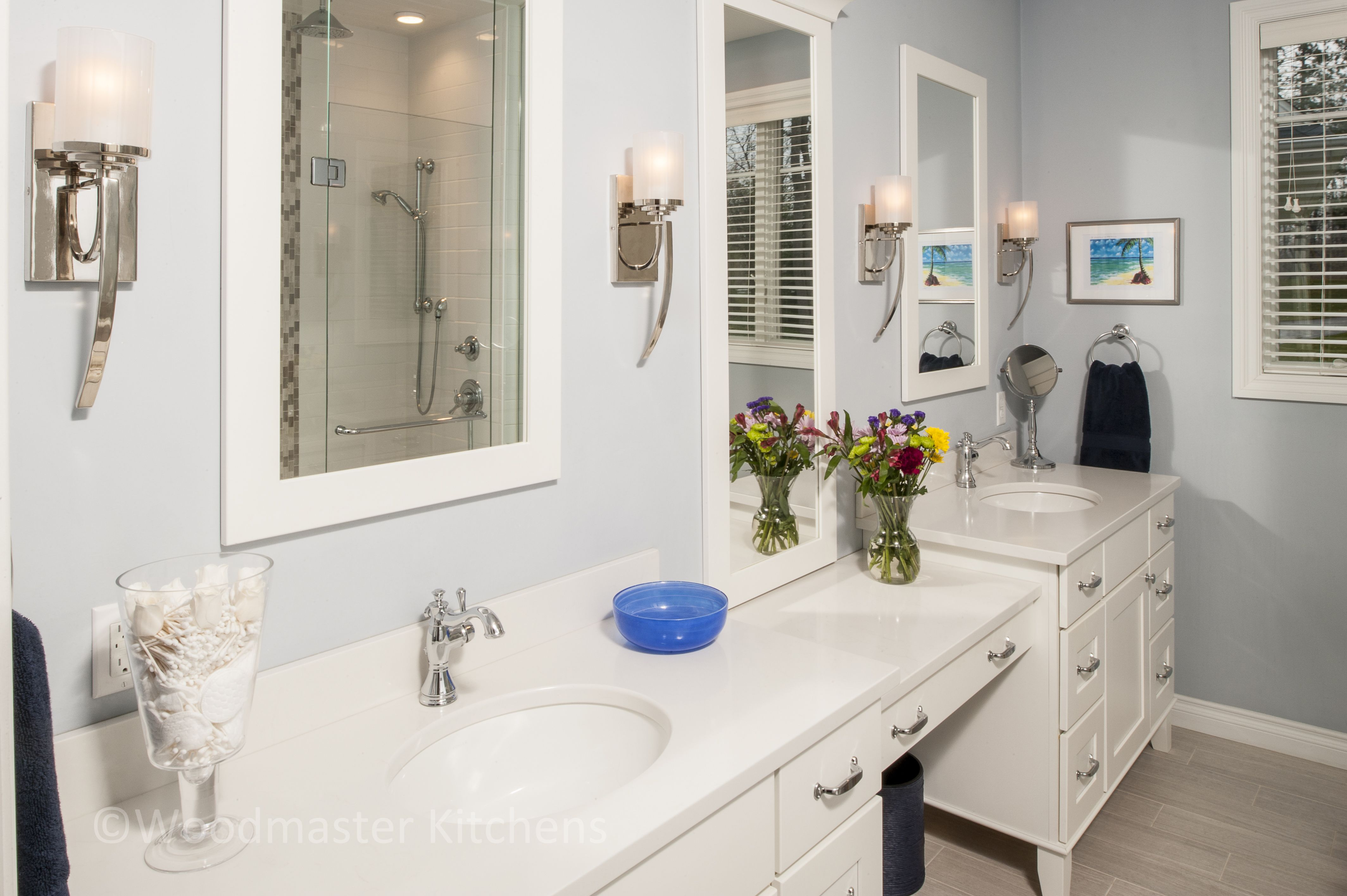 This craftsman style bathroom design offers a bright spot in any ...