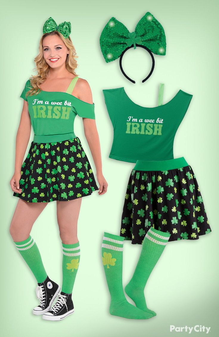 0669f37aa Add some sparkle to your St. Patrick's Day with this cute outfit! Start  with a Wee Bit Irish t-shirt and a shamrock skirt. Accessorize with knee  high socks ...