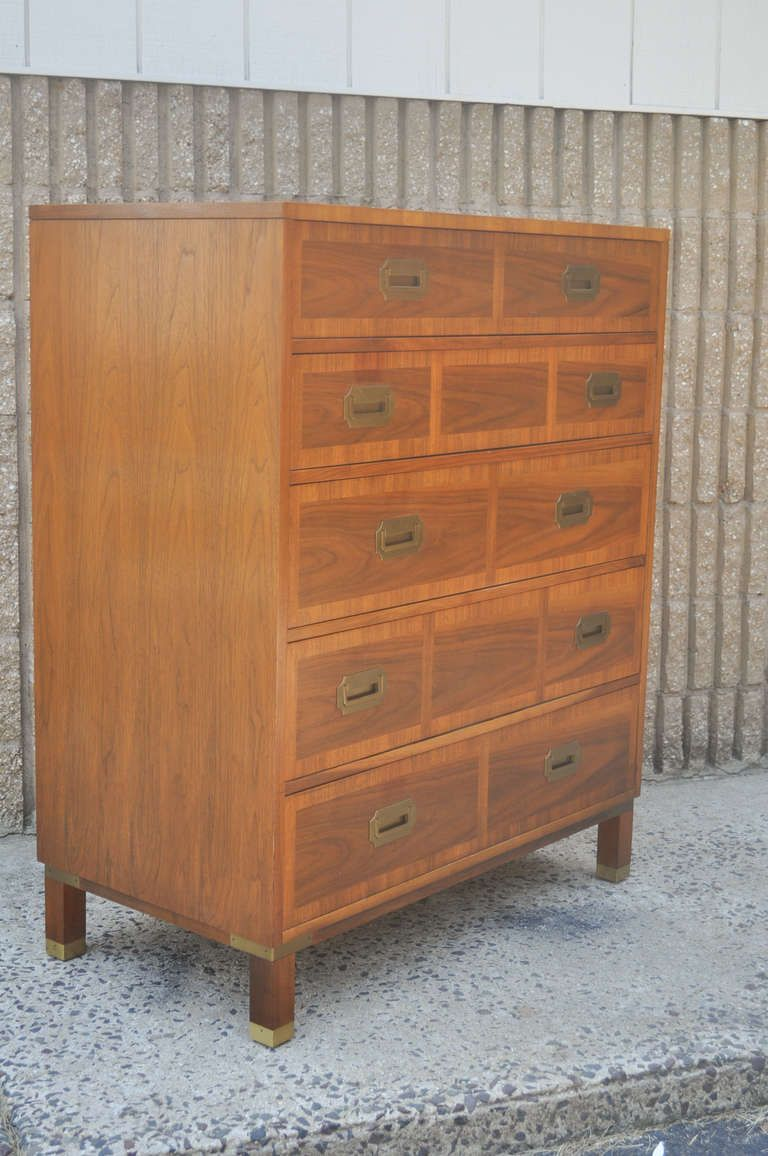For On Vintage Mid Century Modern Milling Road Tall Dresser By Baker The Features A Very Nice Hollywood Regency Campaign Style Design With