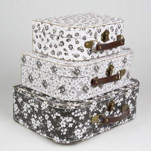 valises décoratives noir et blanc