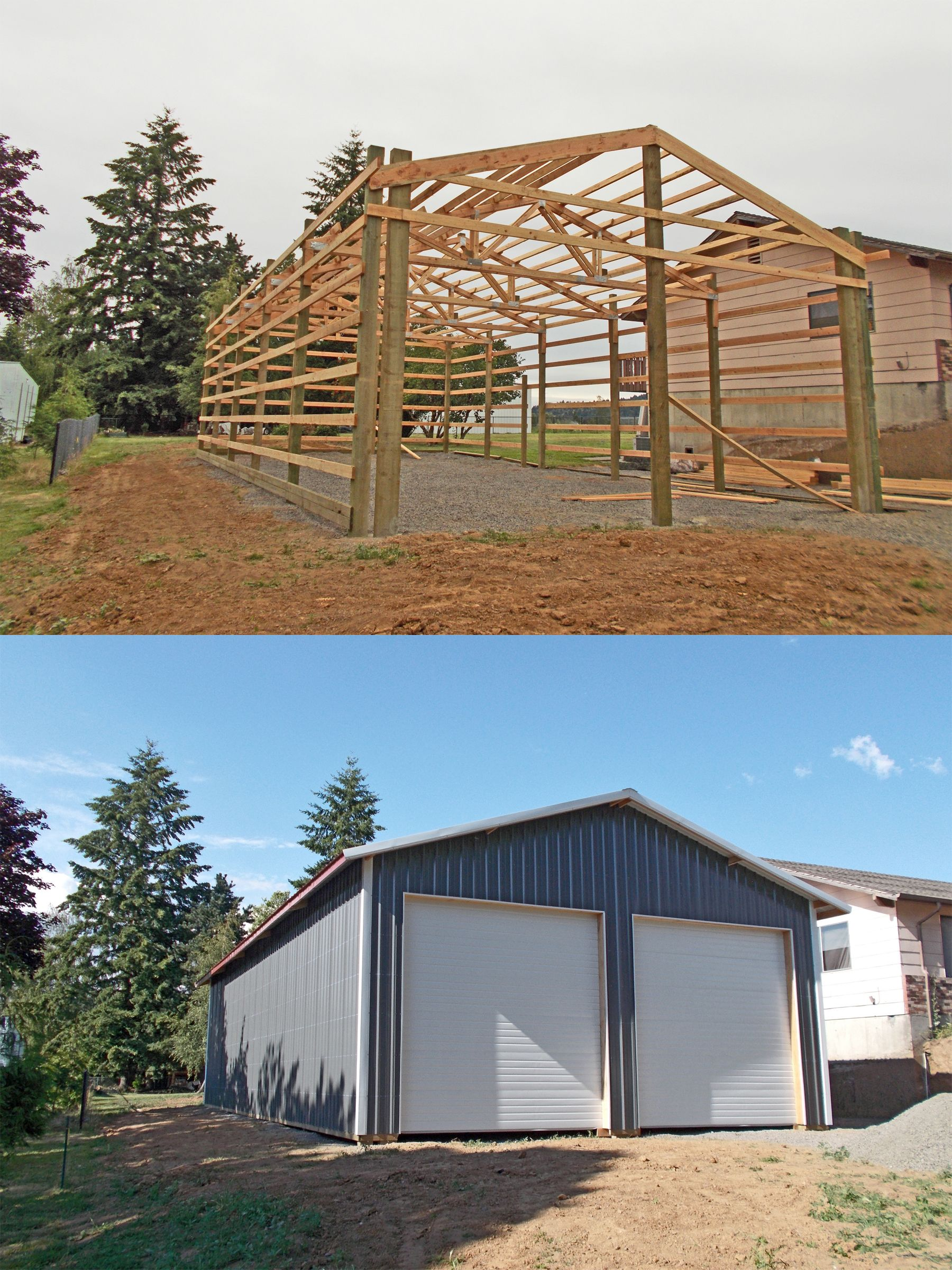 30 X 60 X 14 Residential Pole Building With Two Overhead Doors And Overhang Www Econofabbuildings Com Building A Pole Barn Metal Buildings Pole Barn Homes