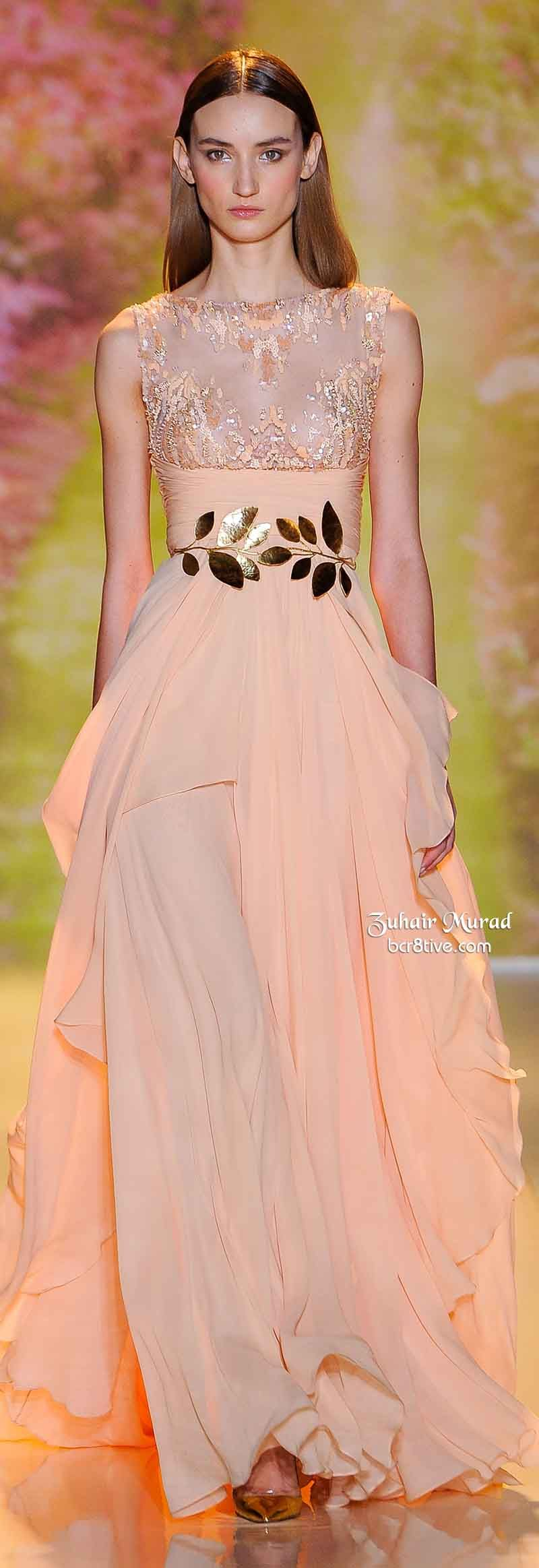 Zuhair Murad Spring 2014 Haute Couture | Coral and Peach ...