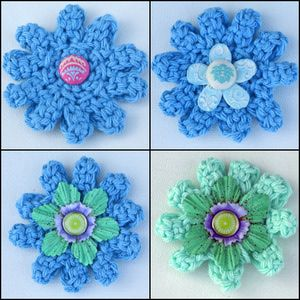 Crochet an abstract flower motif using this free pattern and step-by-step tutorial with complete instructions. Use the finished flower in a wide variety of craft projects.: Mixed Media Flowers