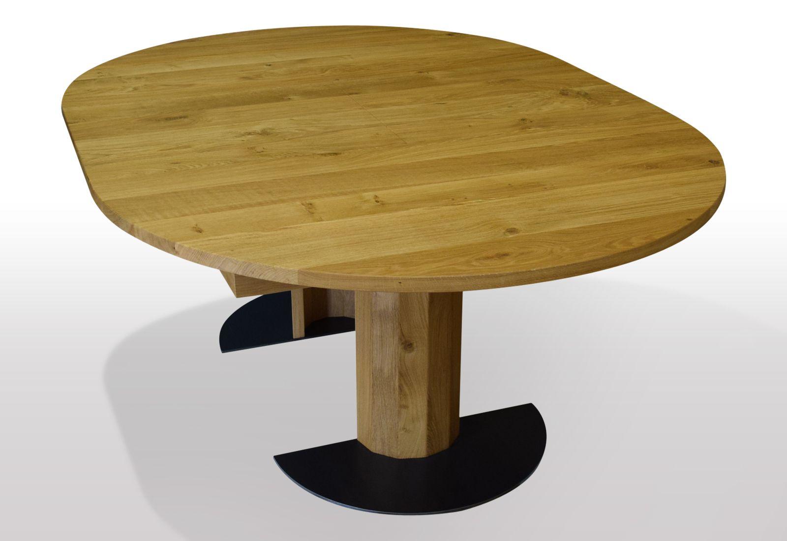 runder esstisch eiche massiv ausziehbar per mittelauszug ausf hrung auf holzs ule mit. Black Bedroom Furniture Sets. Home Design Ideas