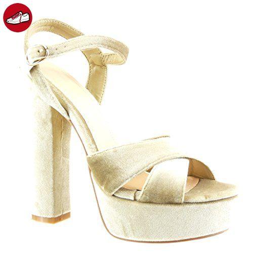 Angkorly Damen Schuhe Sandalen Pumpe   Plateauschuhe   Offen   String Tanga   Multi Zaum Blockabsatz High Heel...