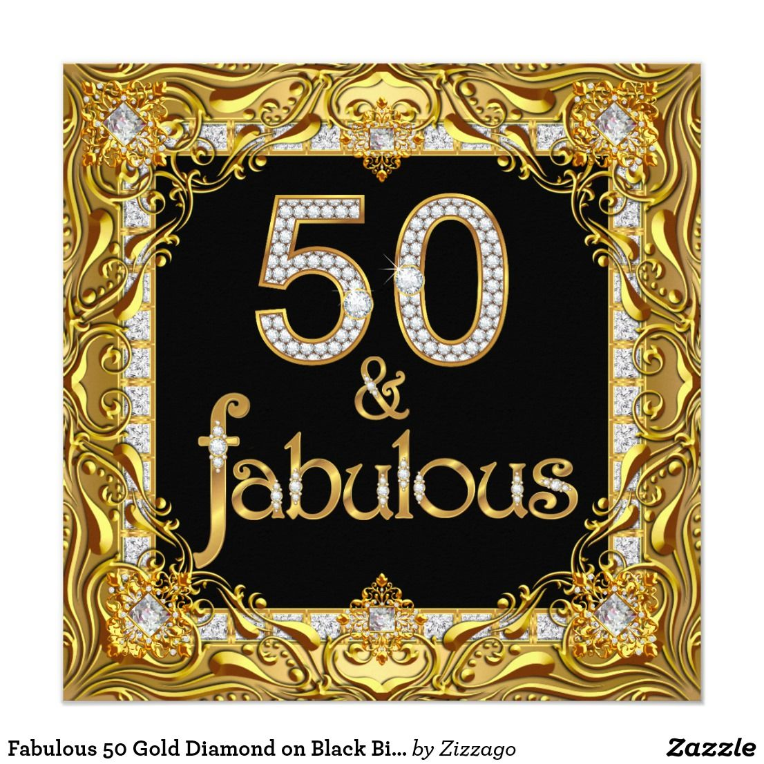 50 And Fabulous Text: Fabulous 50 Gold Diamond On Black Birthday Party