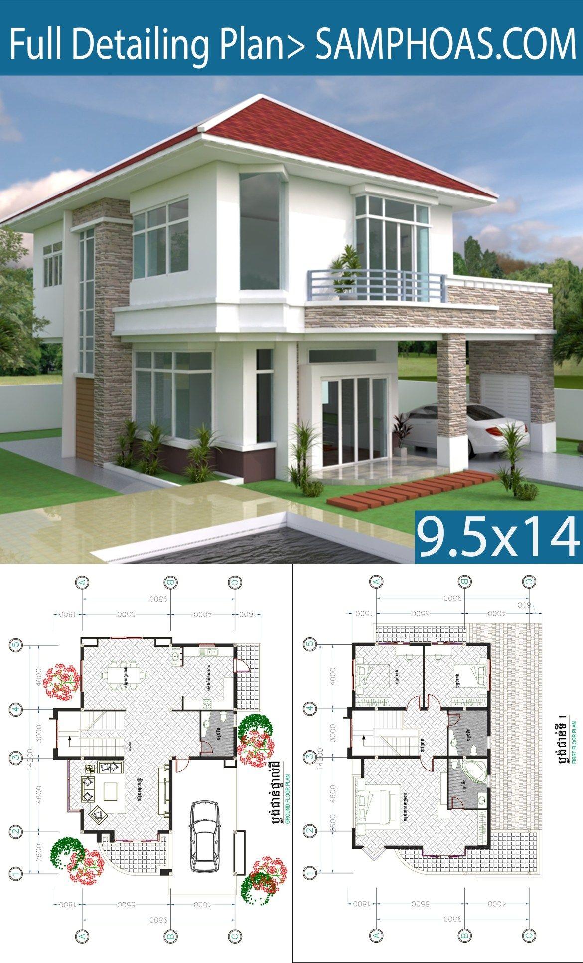 3 Bedrooms Modern Home Plan 9 5 X14 2m Samphoas Plansearch Modern House Plans House Plans Beautiful House Plans