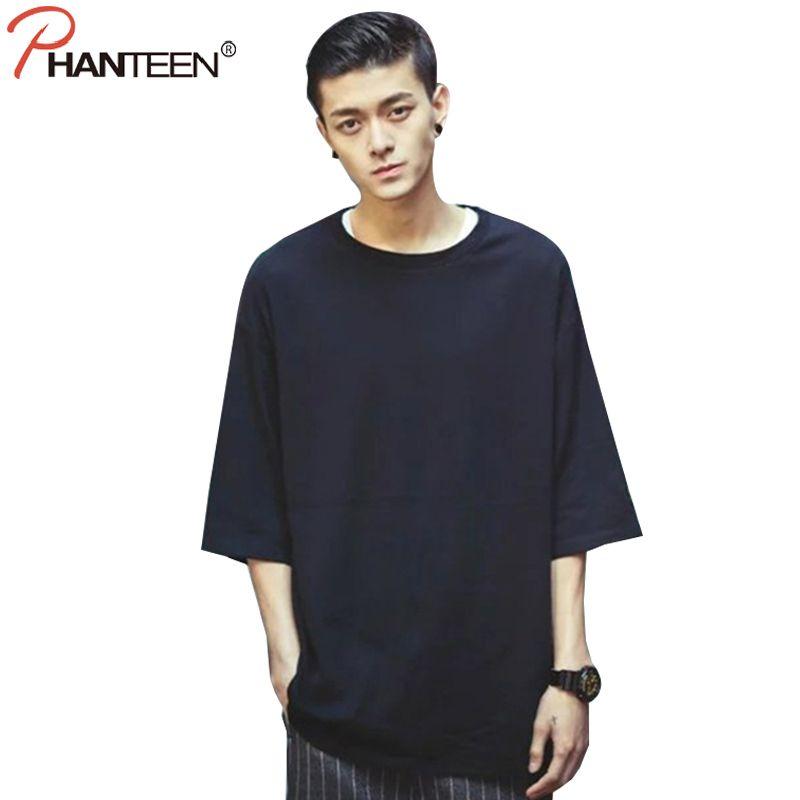 f1baf254e4d699 summer outfits men Phanteen Summer Half Sleeve Man T Shirts Solid Black  White Color Large Oversize Hiphop Loose T-shirts Fashion Men Clothing - -  AliExpress ...