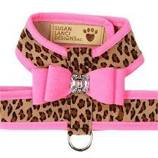 Susan Lanci Big Bow Crystal Contrasting Dog Harness – Black and Cheetah