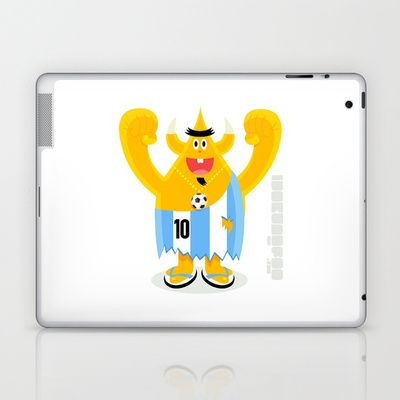Argentinian horned Football freak waiting for World Cup 2014 Laptop & iPad Skin by simonfoo - $25.00