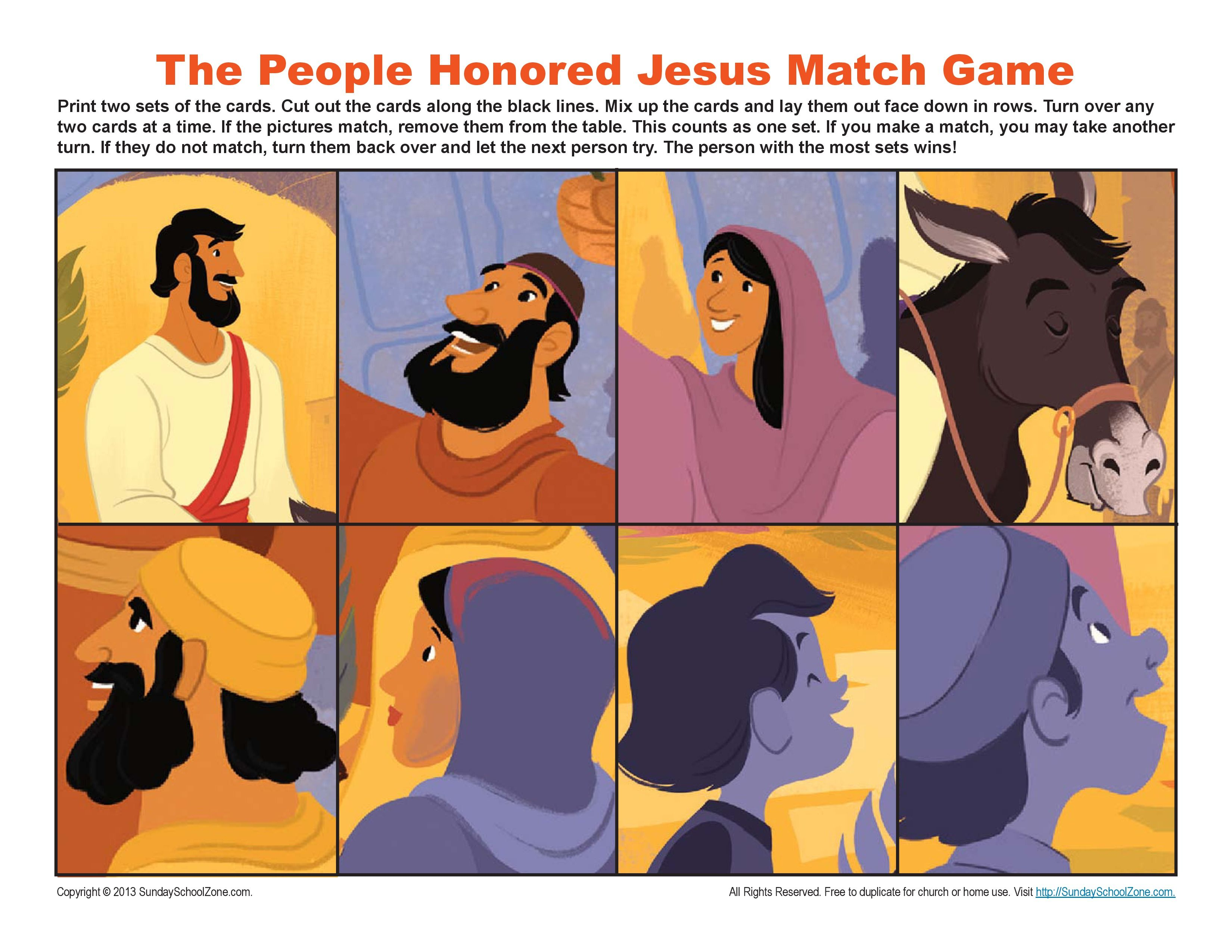 Jesus Triumphal Entry into Jerusalem Match Game | Bible Activities ...