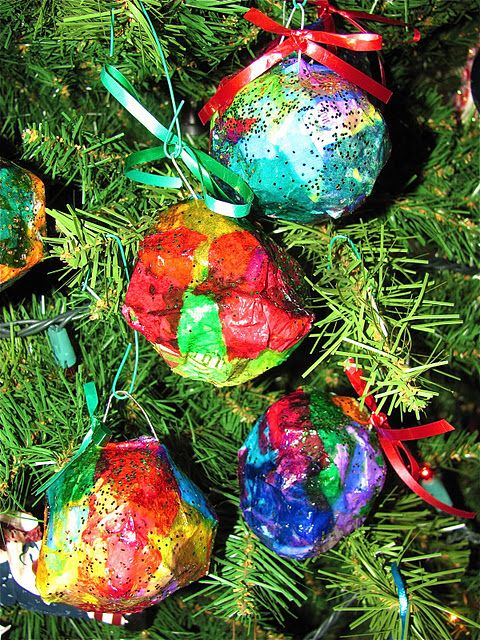 These are such pretty ornaments Made with Newspaper Tissue Paper
