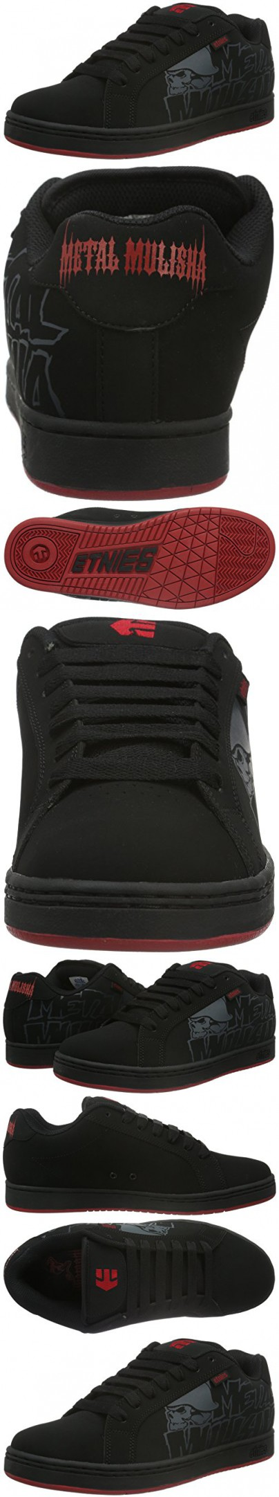 Etnies Men's Metal Mulisha Fader Skateboarding Shoe, Black/Black/Red, 10.5 M US
