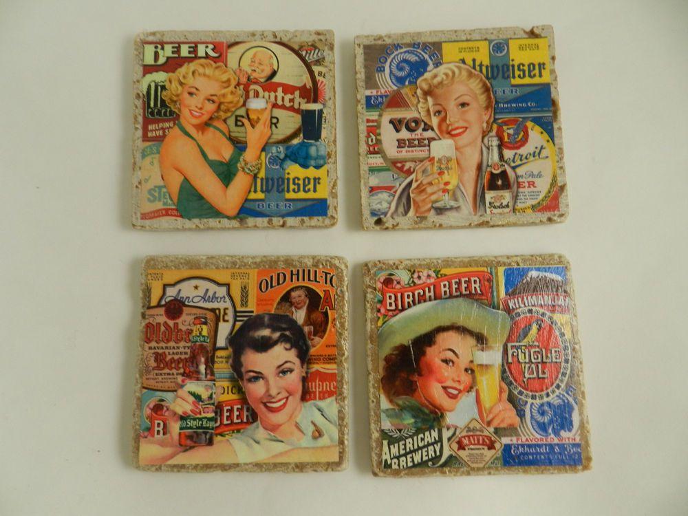 Vintage Beer Women Ad Stone Drink Coasters Set Four Assorted Barware