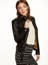 Leather Biker Jacket Leather Jackets Ladies Clothing At Scotch