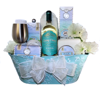 Luxury Spa Gift Basket with Wine by Thoughtful Expressions