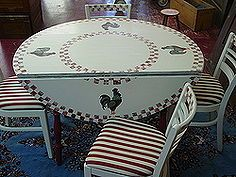 found this table and chairs at a yard sale painted it and reupholstered the chairs.    furniture revivals, kitchens