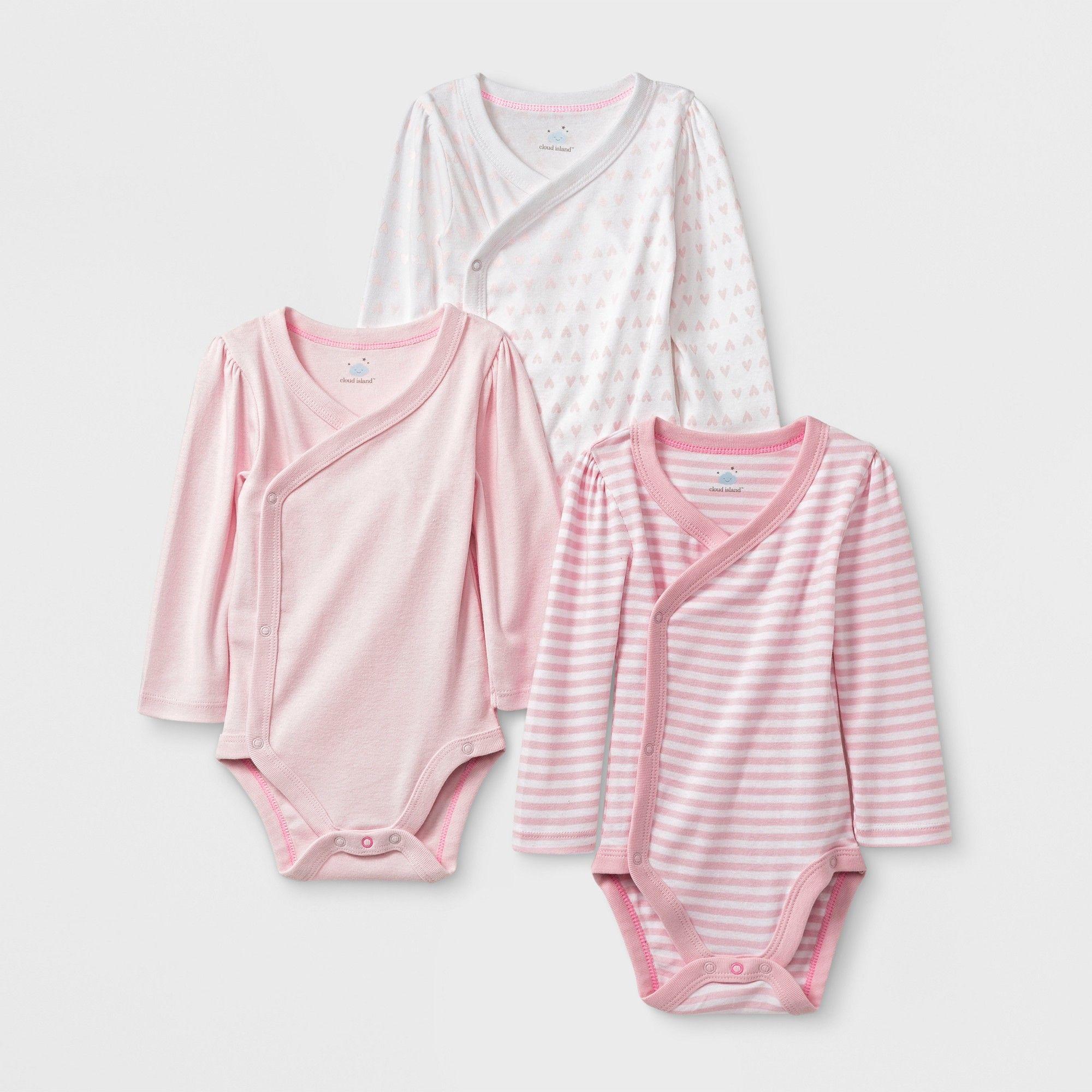 e0ec5b292 Baby Girls' 3pk Side Snap Bodysuits - Cloud Island Newborn, Multicolored