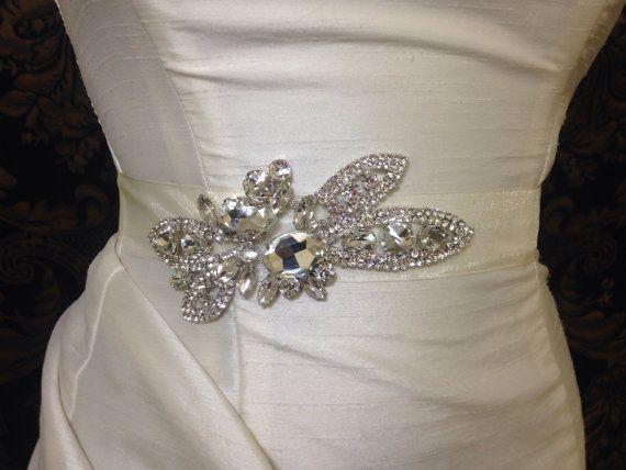 DAINTY Crystal Rhinestone Bridal Belt with Sheer by UnderTheVeil