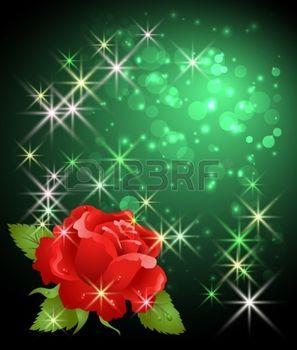 feu d artifice FLEUR Fond rougeoyant de rose, bokeh et les étoiles