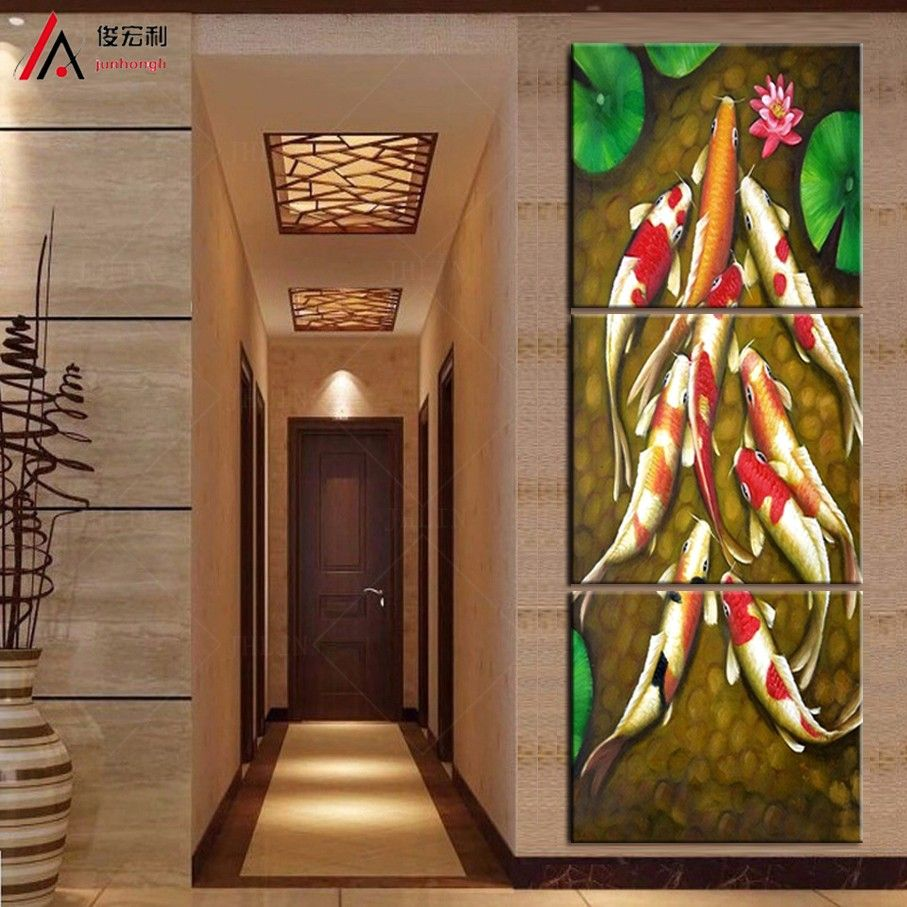 Room · Vertical Forms Canvas Art Koi Fish Lotus Goldand Chinese Oil  Painting Feng Shui Wall ...
