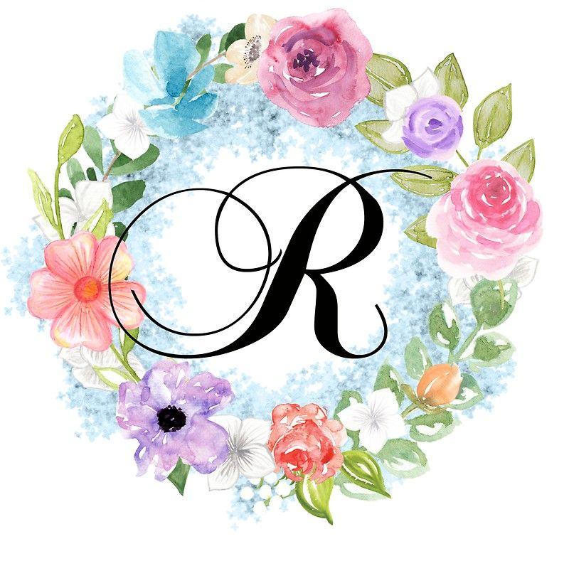 Watercolor Floral Wreath Monogram Letter R Sticker By Grafixmom In 2021 Floral Wreath Watercolor Floral Monogram Letter Monogram Wallpaper
