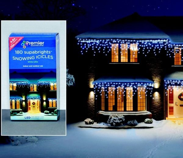 Premier Snowing Icicle LED Christmas Supabrights Garden products