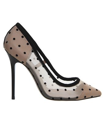 dffa9c5ff72a Office Premium Mesh Point Court Black Spot Mesh - High Heels   My ...