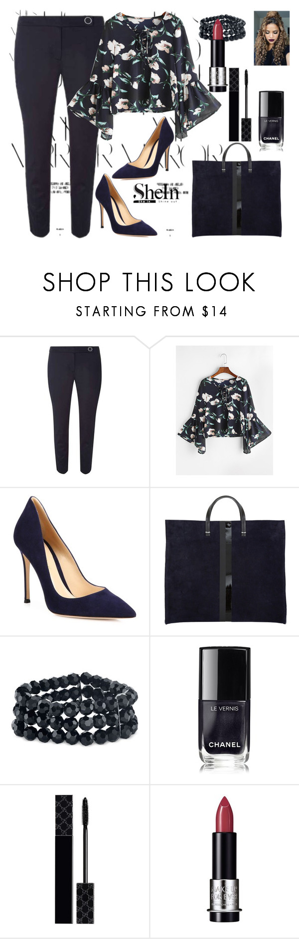 """shein"" by girl-321 ❤ liked on Polyvore featuring Rika, Dorothy Perkins, Gianvito Rossi, 2028, Chanel, Gucci and MAKE UP FOR EVER"