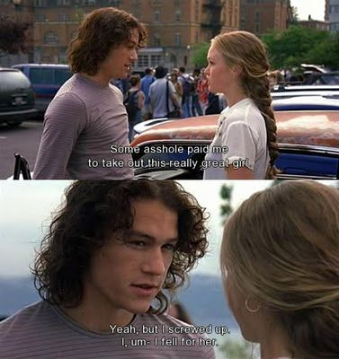 10 Things I Hate About You - Heath Ledger. And then he gives her a Fender Strat. I loved him so in this movie. He was perfect for me.