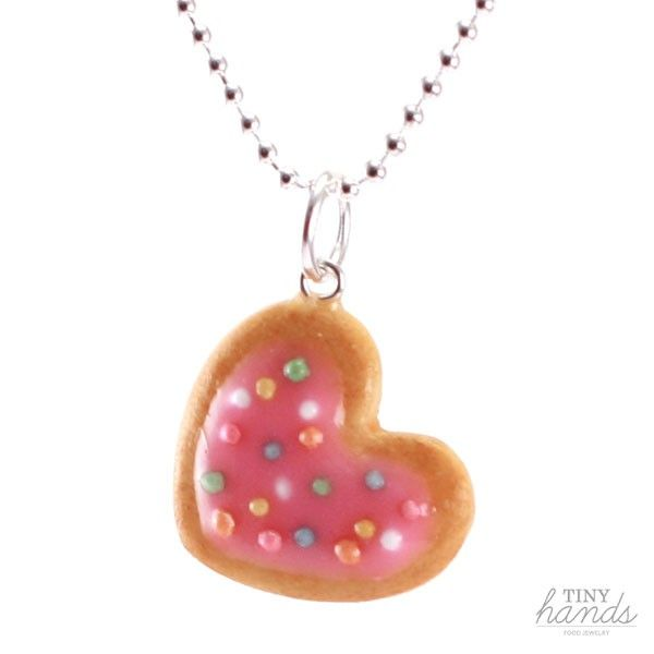 Strawberry frosting scented heart cookie necklace handmade from polymer clay by Tiny Hands. So adorable and super cute, perfect for her birthday gift!