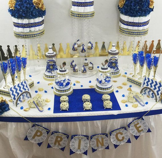 Blue Baby Shower Candy Buffet Part - 46: Royal Prince Baby Shower Candy Buffet By PlatinumDiaperCakes