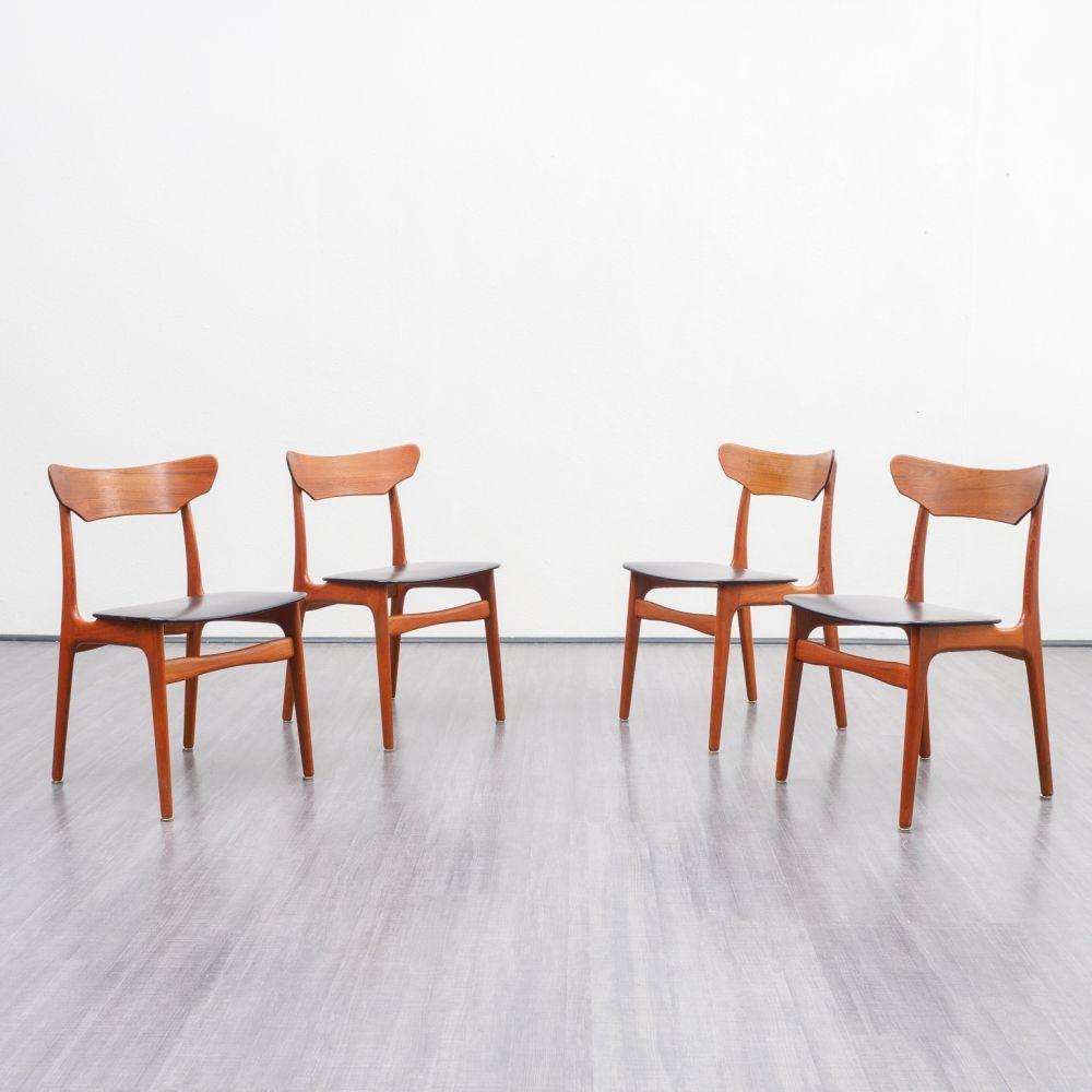 For Sale Set Of 4 Teak Scandinavian Design Dining Chairs 1960s