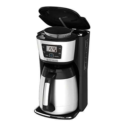 Black & Decker CM2035B 12-Cup Thermal Coffeemaker, Black/Silver  Black & Decker Large Capacity 12 Cup Thermal Programmable Coffee Maker. Extra Large Capacity Thermal Carafe is 20% larger than most thermal carafes in the market, holds a full 12-cups; Double-walled, vacuum sealed stainless steel carafe retains hot temperatures for hours, preserving fresh taste; Even Stream Showerhead Technology for better tasting coffee, Faster to optimal brew temperature and better water distribution ..