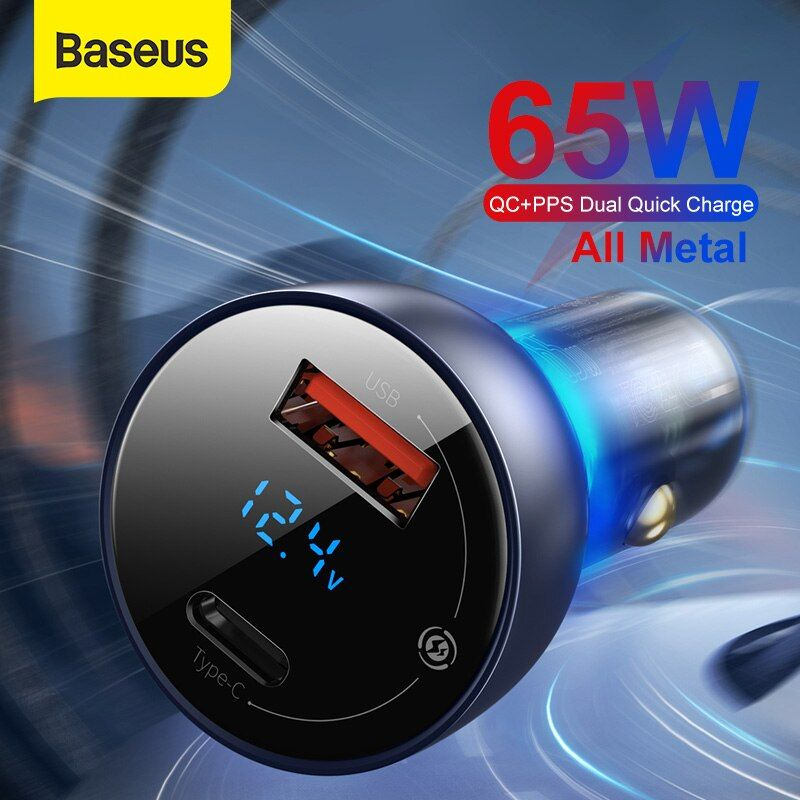 Baseus 65w Pps Car Charger Pd Qc Dual Quick Charging For Laptop Translucent Metal Car Phone Charger For Iphone Samsu Phone Charger Charger Car Protective Cases