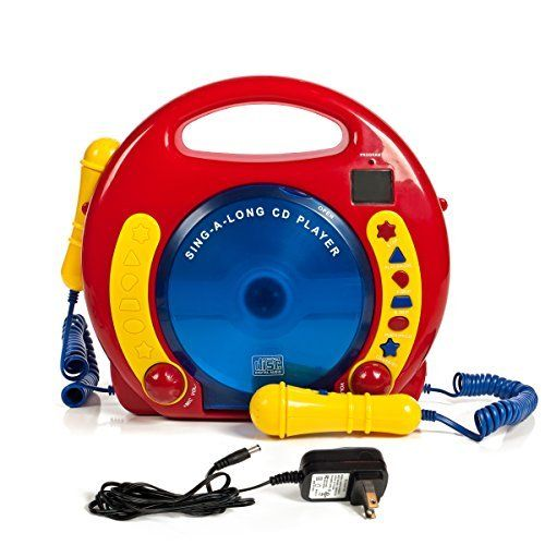 Portable Sing Along CD/USB/SD player Anti skip with 2 Microphones & AC adapter