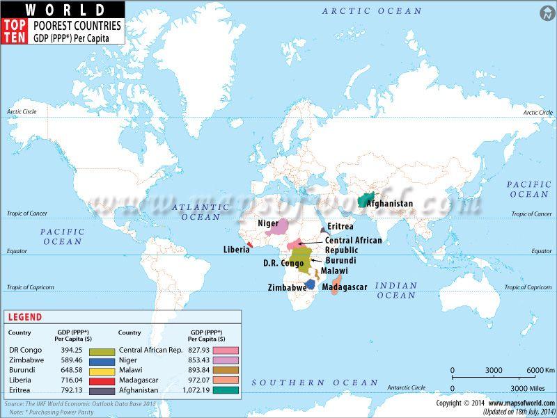 Top Ten poorest countries of the world Worldu0027s Top Ten Pinterest - best of world map showing population growth