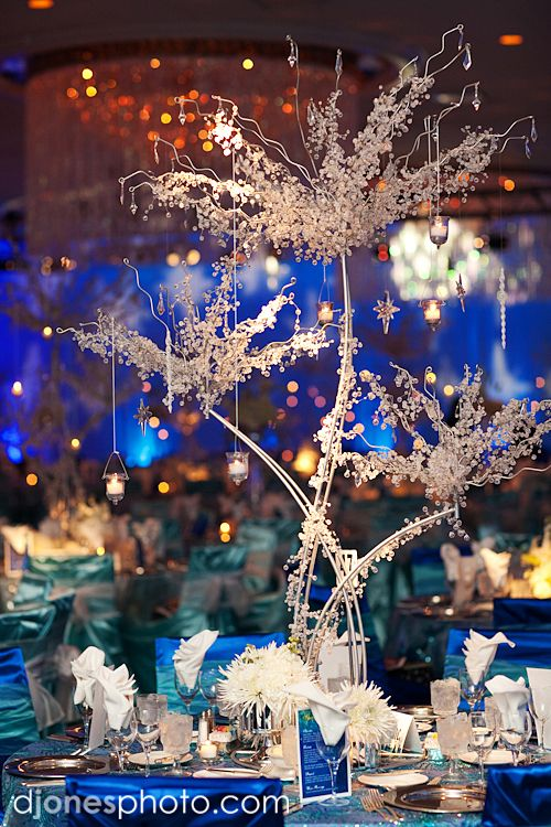 Starry night wedding reception centerpiece