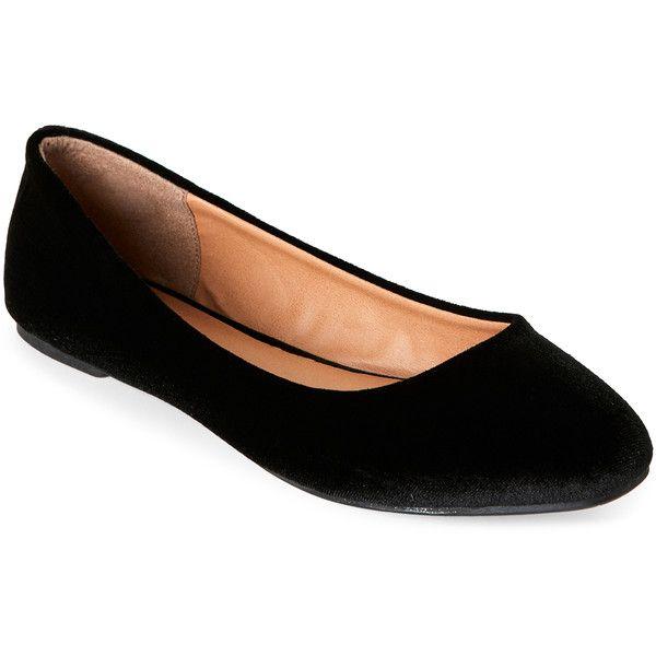 black velvet flat shoes