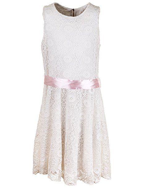 Mädchen Kleid mit Spitze in 6 Farben (10 / 128 / 134, #387 Rosa ...
