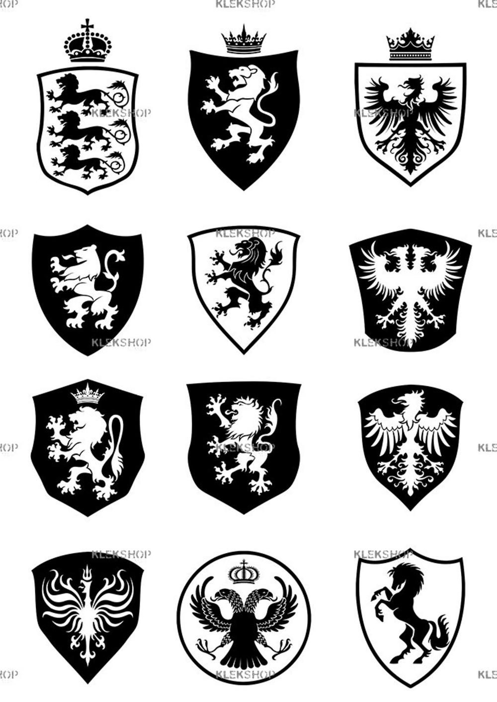 Coat Of Arms Shields Set Clip Art Heraldry Kit Of 12 Royal