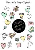 Mother's Day Clipart, hearts, flowers, cupcake, butterfly