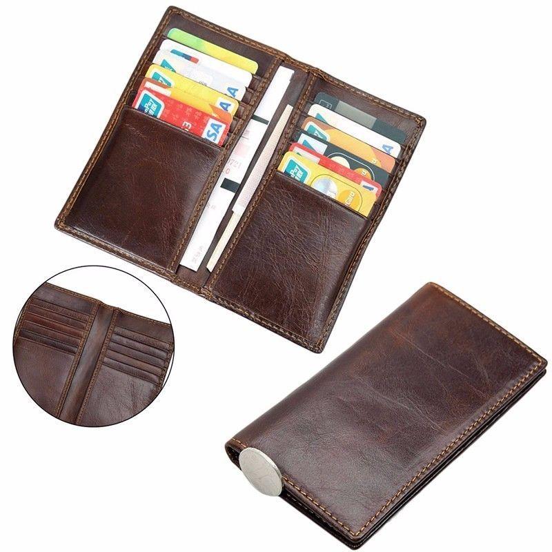 b7d35df93545 Men Genuine Leather Wallet Bifold ID Card Holder Purse Long Clutch ...