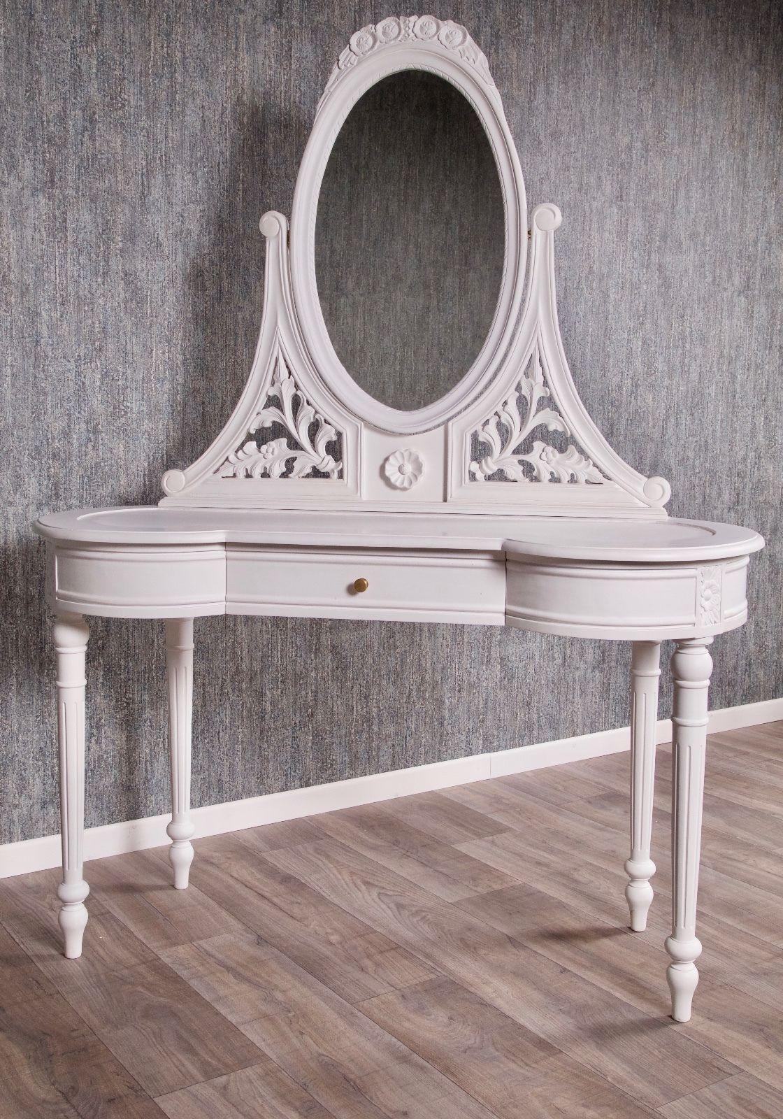Barock Schminktisch Weiss Antik Massiv Stil Spiegel Art