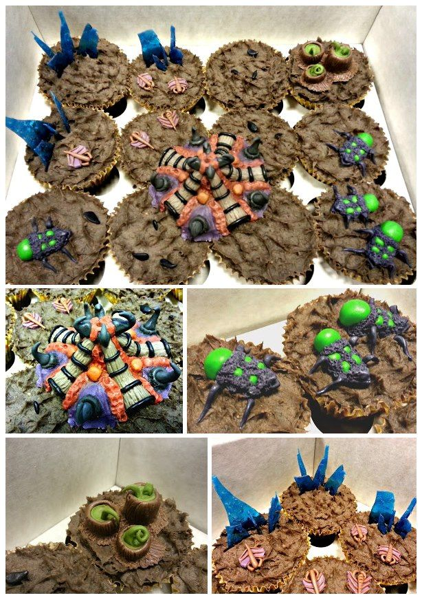 Starcraft 2 Zerg cupcakes! Please re-pin, and check out my other cakes at https://www.facebook.com/icingonthecakery?ref=tn_tnmn :Dv