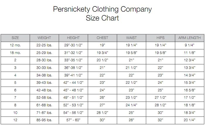 girls clothes sizes