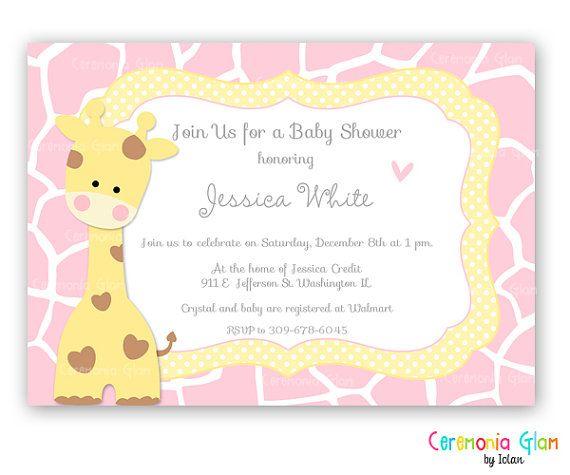 Invitacines baby shower para imprimir jirafa  Imagui  Proyectos