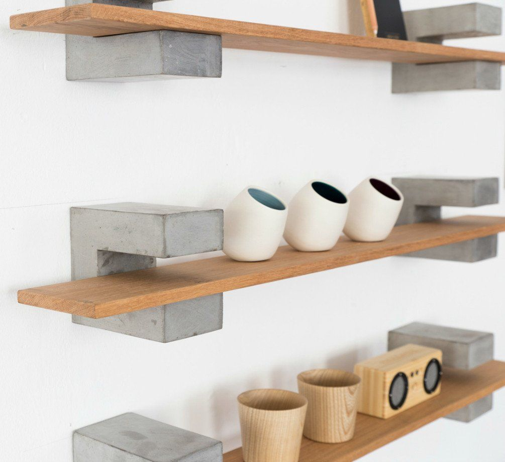 Wood & Concrete Shelf | Concrete | Pinterest | Concrete, Shelves and ...